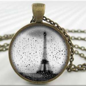 Rain in Paris Eiffel Tower Glass Tile Pendant