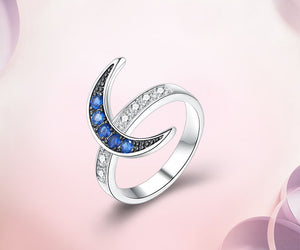Silver Crescent Moon Ring