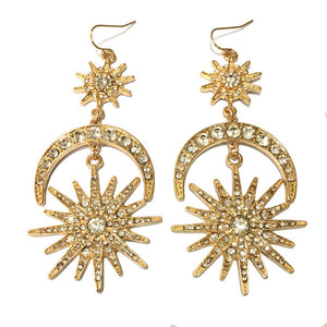Gold Starburst & Crescent Moon Earrings - Gold