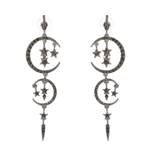 Art Deco-Inspired Moon & Star Statement Earrings - Black