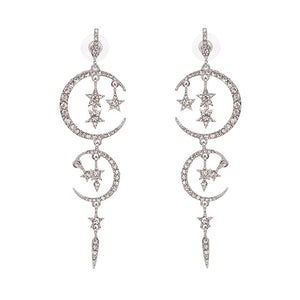 Art Deco-Inspired Moon & Star Statement Earrings - White