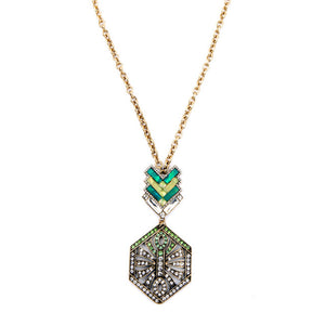 Art Deco-Style Green Rhinestone Necklace