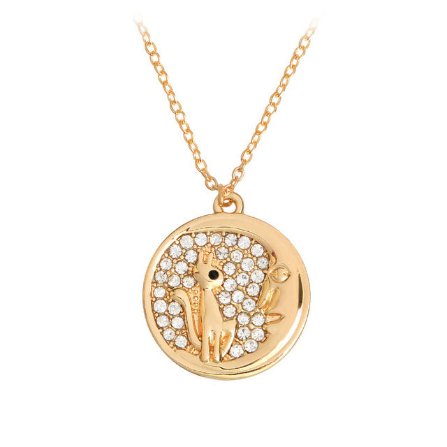 Cat & Moon Rhinestone Pendant
