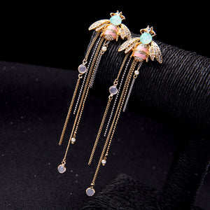 Opal Honeybee Tassel Earrings