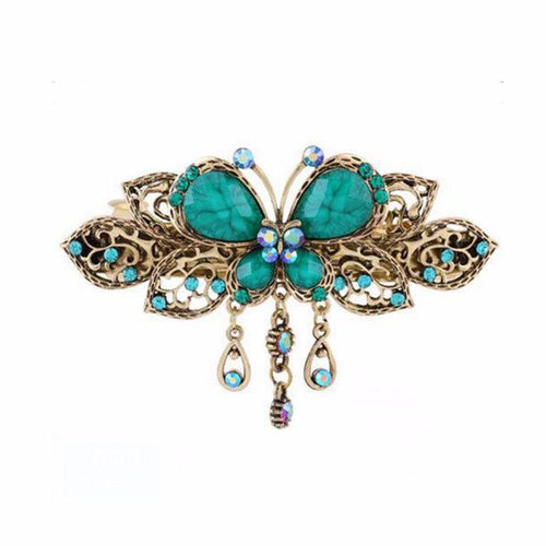 Vintage-Style Butterfly Barrette - Teal
