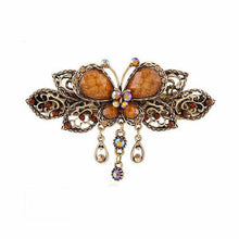 Vintage-Style Butterfly Barrette - Red