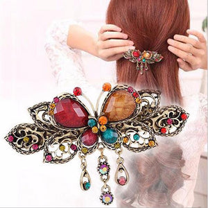 Vintage-Style Butterfly Barrette - Multicolor