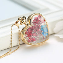 Pressed Flower Glass Heart Pendant