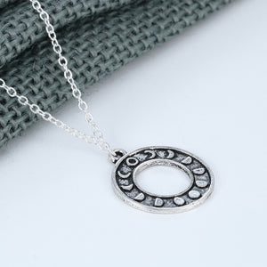 Moon Phases Circle Pendant - Silver