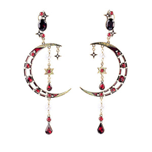 Art Deco-Inspired Crescent Moon & Star Statement Earrings