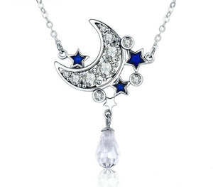 Crescent Moon & Blue Star Necklace