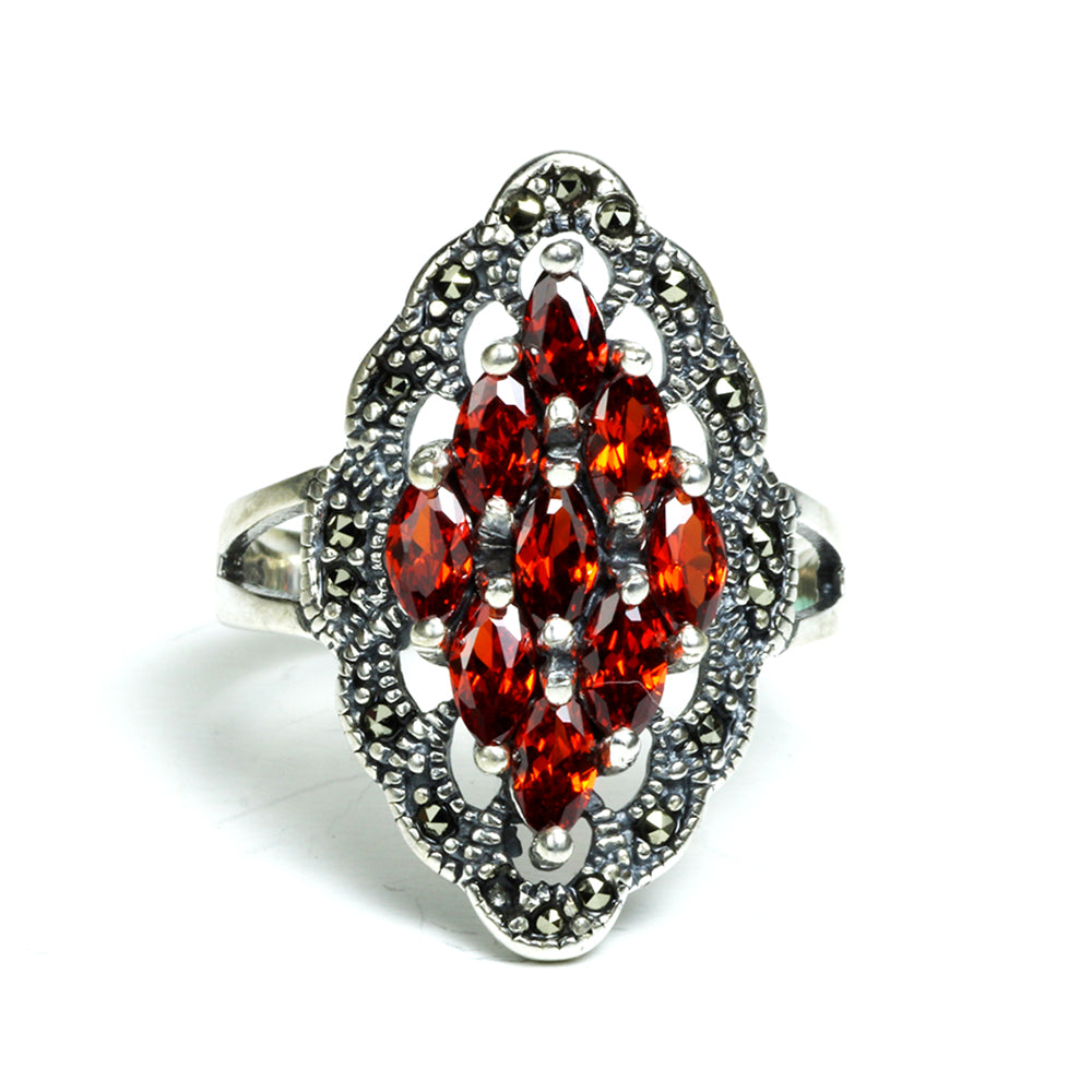Vintage-Style Garnet Marcasite Cocktail Ring