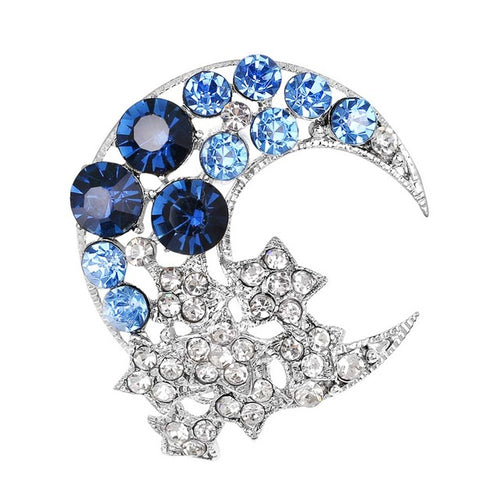 Vintage-Inspired Crescent Moon & Star Brooch - Blue