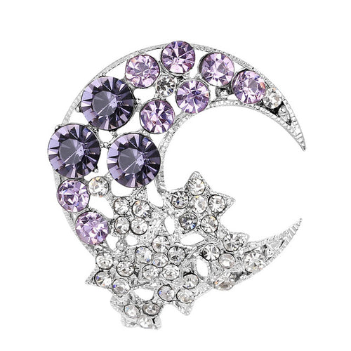Vintage-Inspired Crescent Moon & Star Brooch - Purple