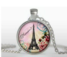 Vintage Glass Tile Eiffel Tower Pendant - Fall Leaves