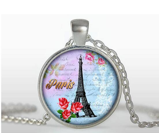 Vintage Glass Tile Eiffel Tower Pendant - Turquoise & Red Rose