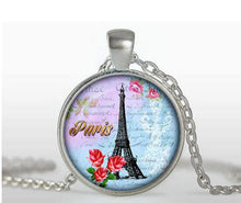 "Vintage Glass Tile Eiffel Tower Pendant - ""France"""