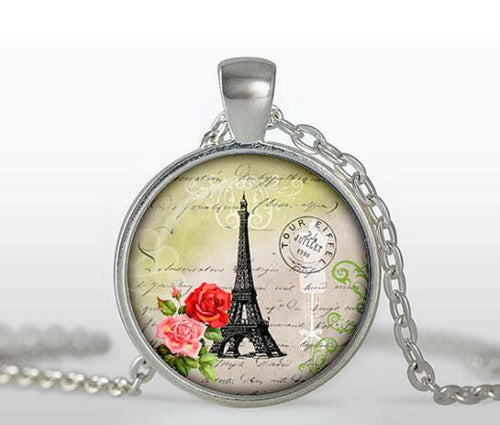 Vintage Glass Tile Eiffel Tower Pendant - Pink & Red Roses