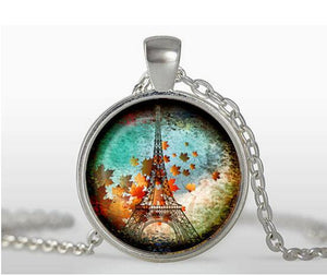 "Vintage Glass Tile Eiffel Tower Pendant - ""Souvenir Post Card"""