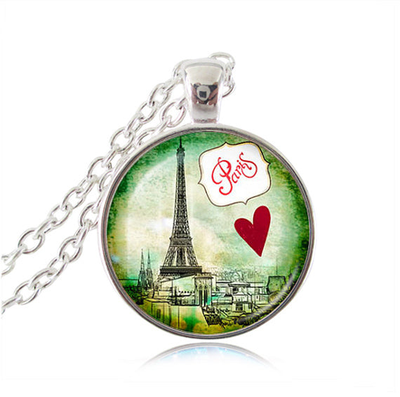 Vintage Eiffel Tower Glass Tile Pendant - Lips