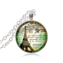 Vintage Eiffel Tower Glass Tile Pendant - Heart