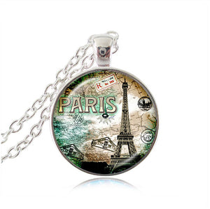 "Vintage Eiffel Tower Glass Tile Pendant - ""Paris"""