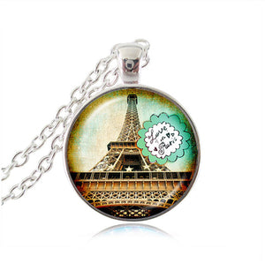 "Vintage Eiffel Tower Glass Tile Pendant - ""Love in Paris"""