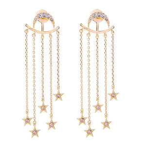 Art Deco-Inspired Moon & Star Statement Earrings