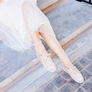 Star Tulle Socks - White