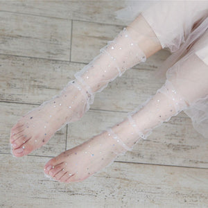 Star Tulle Socks - Gray