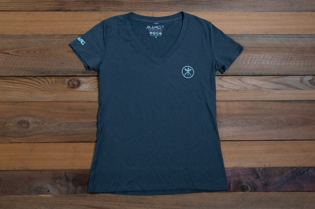 Women's Blue Carbon V-neck