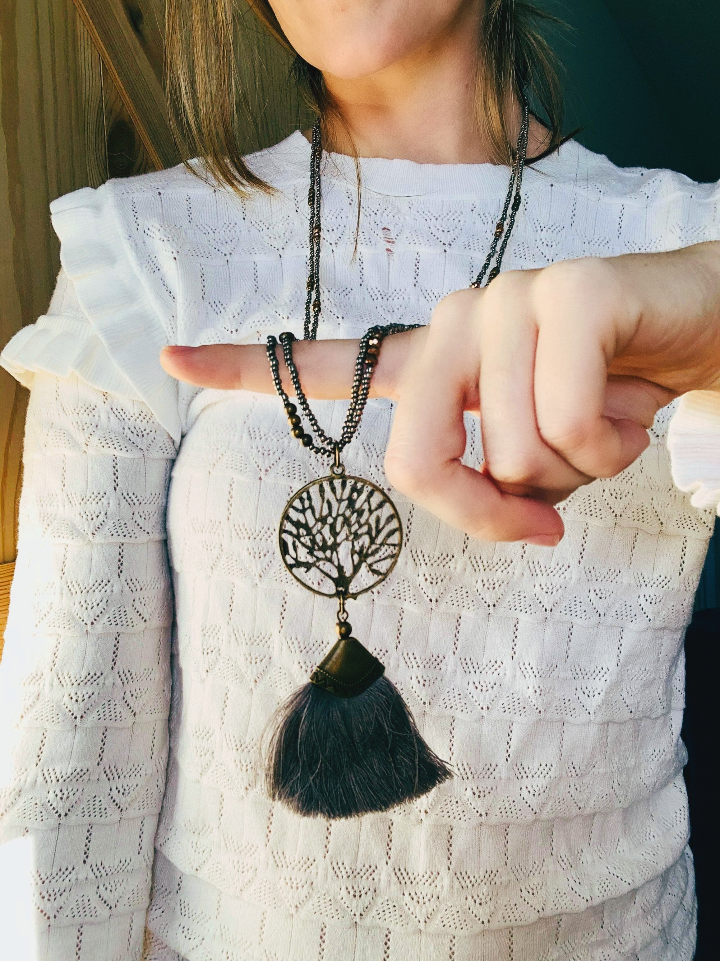 Family Tree Fringe Necklace