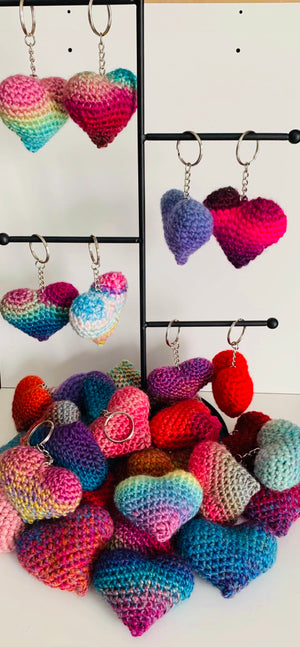 Knit Heart Keychains by DevonMai Designs