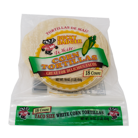 Bucky Badger White Corn Tortillas