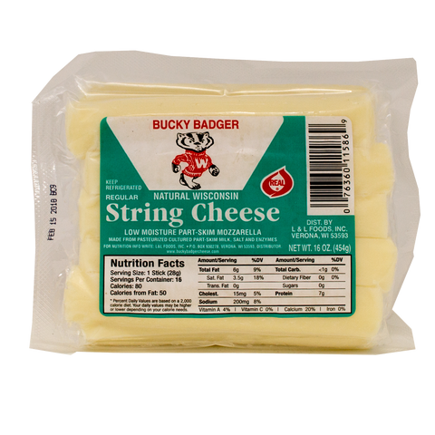 Bucky Badger 16oz Plain String Cheese