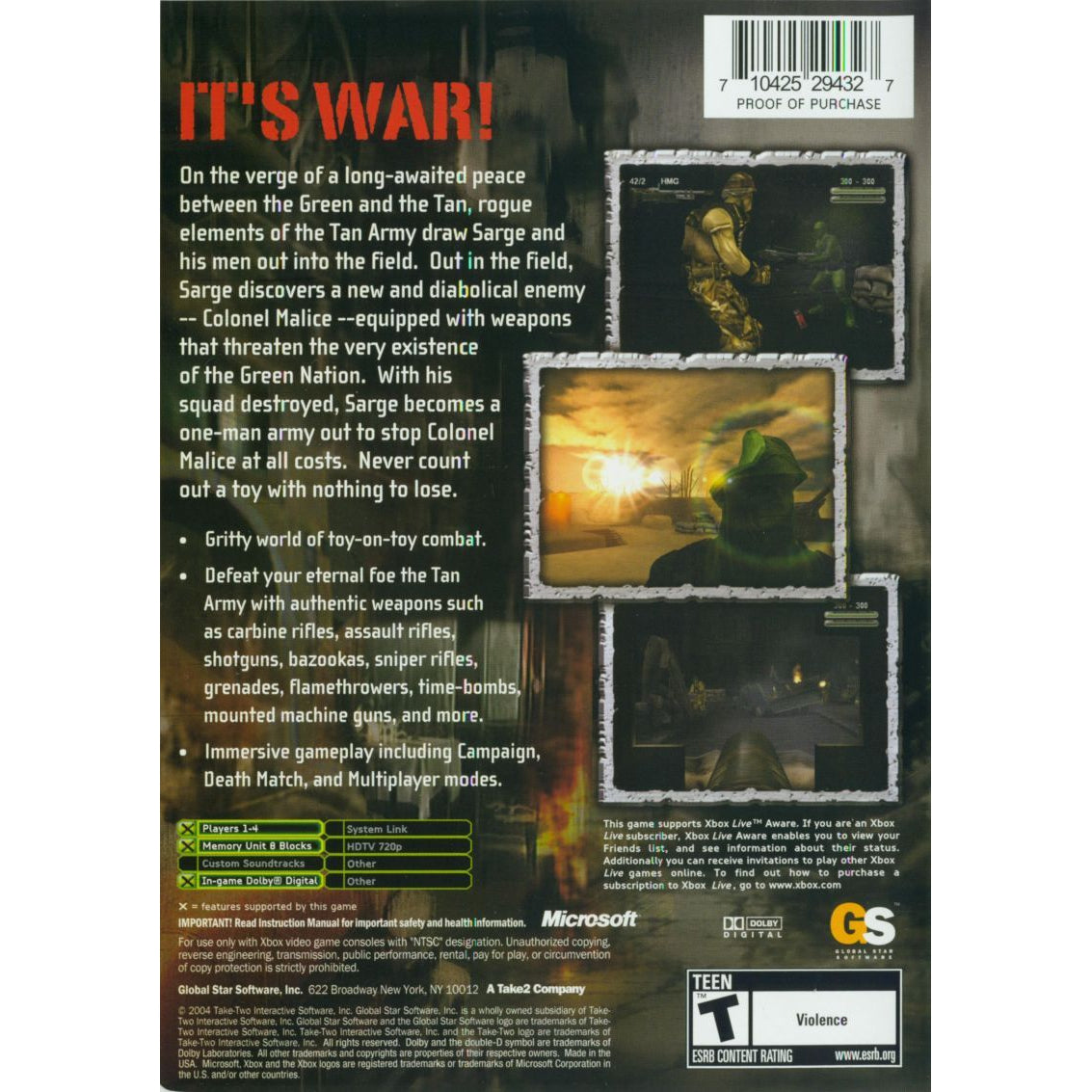Army Men: Sarge's War - Microsoft Xbox Game Complete - YourGamingShop.com - Buy, Sell, Trade Video Games Online. 120 Day Warranty. Satisfaction Guaranteed.