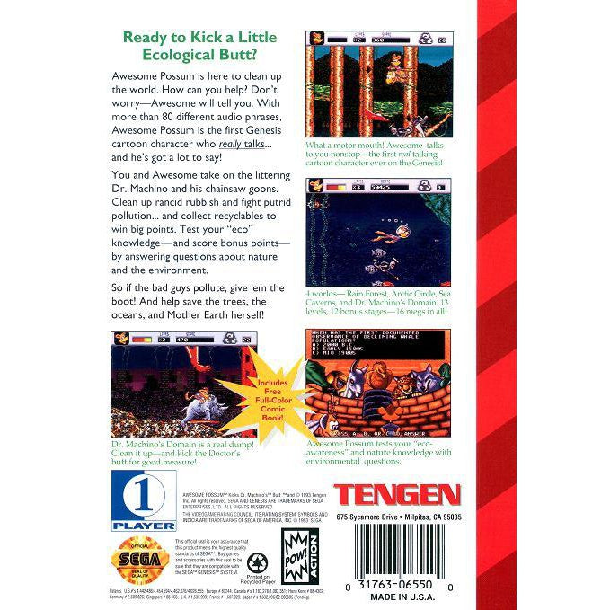 Awesome Possum Kicks Dr. Machino's Butt - Sega Genesis Game Complete - YourGamingShop.com - Buy, Sell, Trade Video Games Online. 120 Day Warranty. Satisfaction Guaranteed.