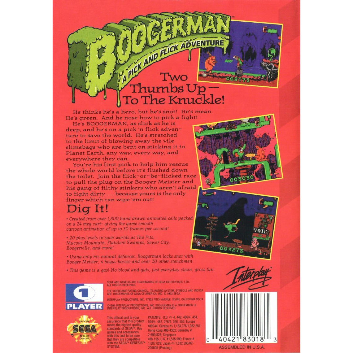 Boogerman: A Pick and Flick Adventure - Sega Genesis Game Complete - YourGamingShop.com - Buy, Sell, Trade Video Games Online. 120 Day Warranty. Satisfaction Guaranteed.