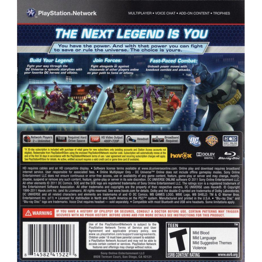 DC Universe Online - PlayStation 3 (PS3) Game - YourGamingShop.com - Buy, Sell, Trade Video Games Online. 120 Day Warranty. Satisfaction Guaranteed.