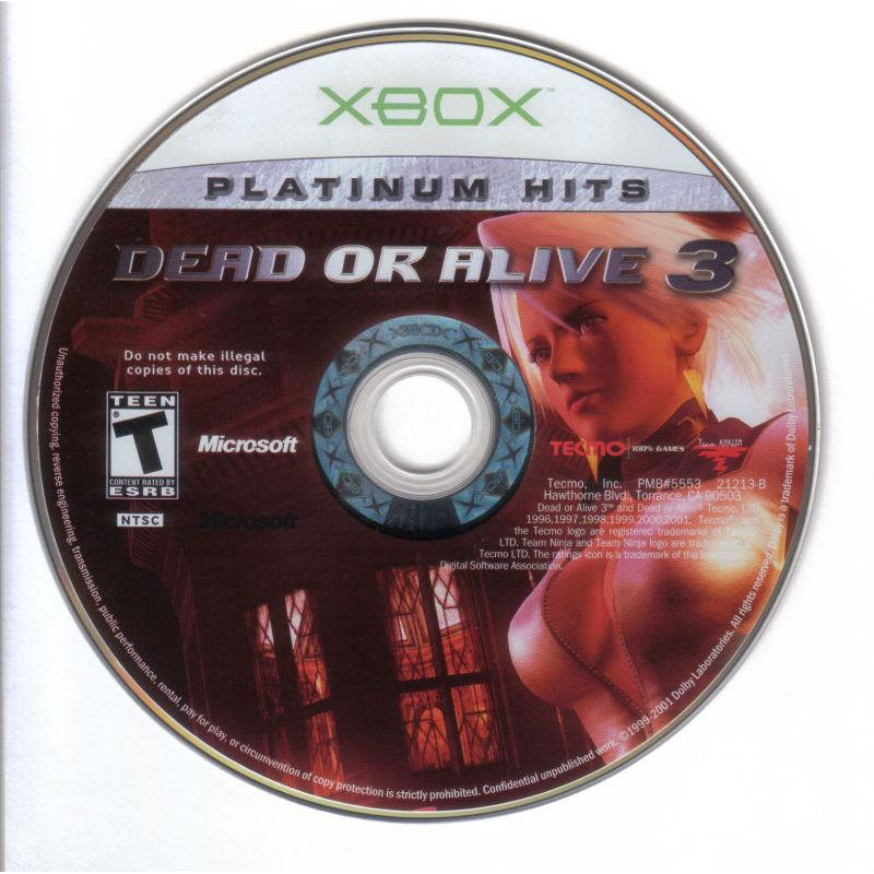 Dead or Alive 3 (Platinum Hits) - Microsoft Xbox Game Complete - YourGamingShop.com - Buy, Sell, Trade Video Games Online. 120 Day Warranty. Satisfaction Guaranteed.