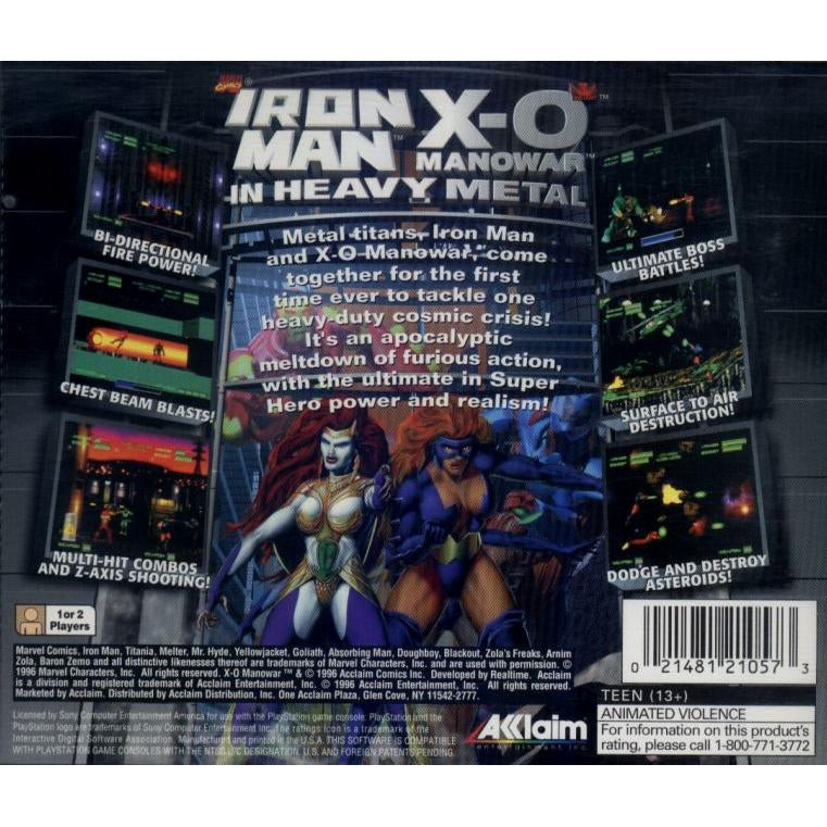 Iron Man / X-O Manowar in Heavy Metal - PlayStation 1 (PS1) Game Complete - YourGamingShop.com - Buy, Sell, Trade Video Games Online. 120 Day Warranty. Satisfaction Guaranteed.