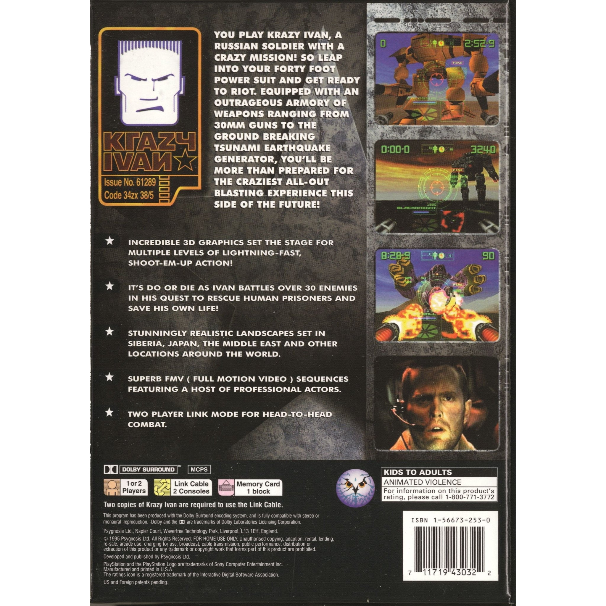 Krazy Ivan (Long Box) - PlayStation 1 (PS1) Game Complete - YourGamingShop.com - Buy, Sell, Trade Video Games Online. 120 Day Warranty. Satisfaction Guaranteed.