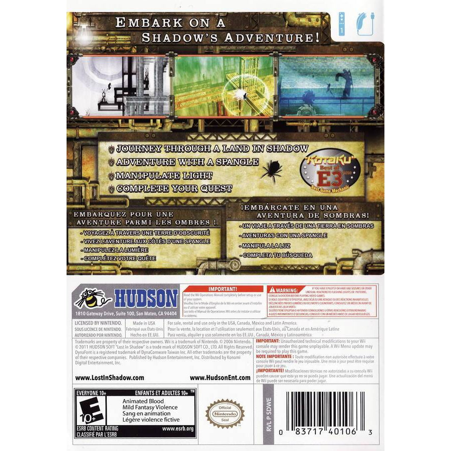 Lost in Shadow - Wii Game Complete - YourGamingShop.com - Buy, Sell, Trade Video Games Online. 120 Day Warranty. Satisfaction Guaranteed.