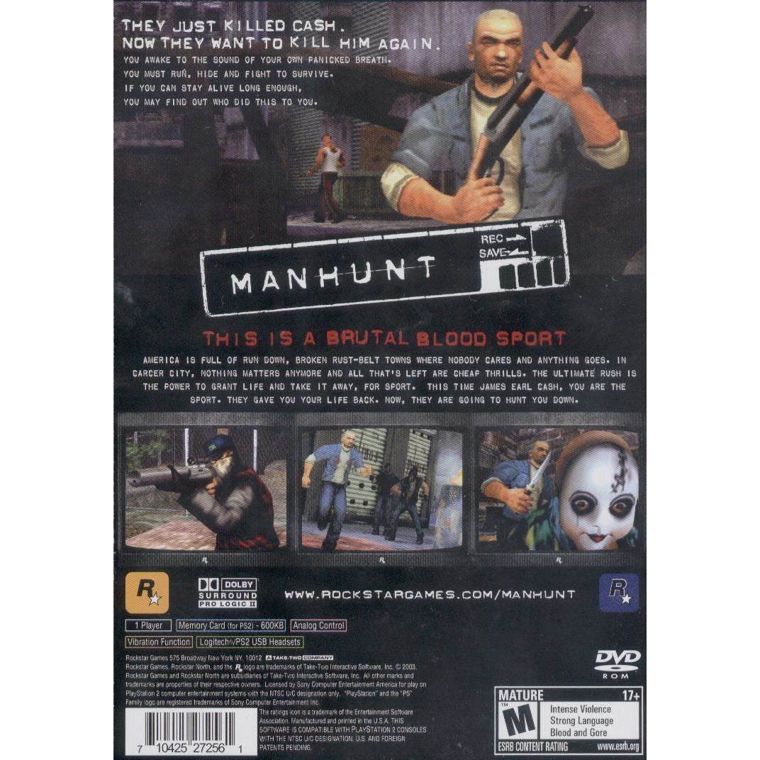 Manhunt - PlayStation 2 (PS2) Game Complete - YourGamingShop.com - Buy, Sell, Trade Video Games Online. 120 Day Warranty. Satisfaction Guaranteed.