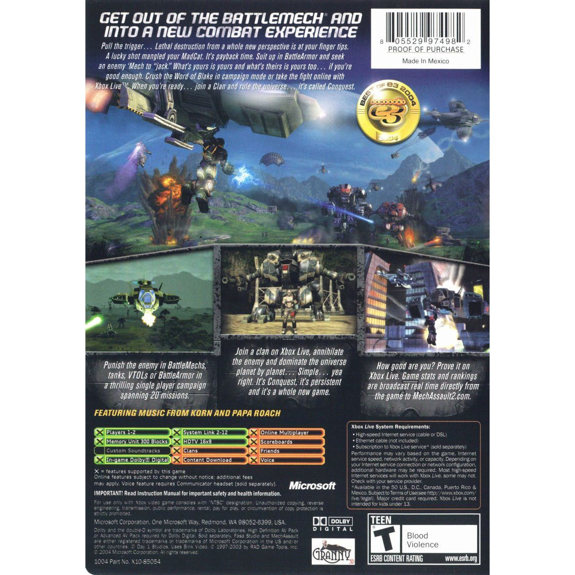 MechAssault 2: Lone Wolf - Microsoft Xbox Game Complete - YourGamingShop.com - Buy, Sell, Trade Video Games Online. 120 Day Warranty. Satisfaction Guaranteed.