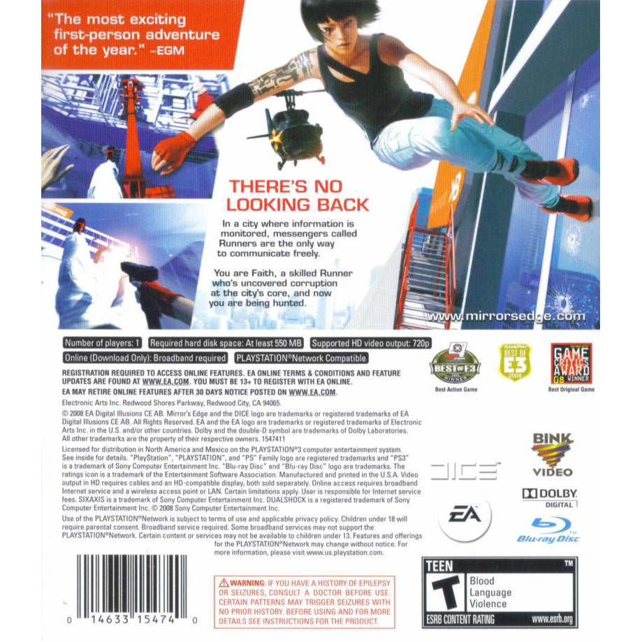 Mirror's Edge - PlayStation 3 (PS3) Game Complete - YourGamingShop.com - Buy, Sell, Trade Video Games Online. 120 Day Warranty. Satisfaction Guaranteed.