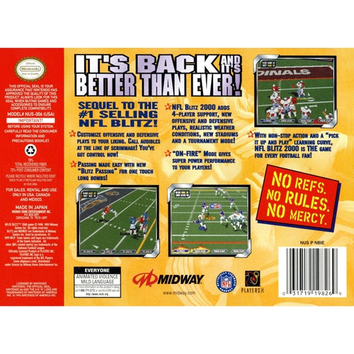 NFL Blitz 2000 - Authentic Nintendo 64 (N64) Game - YourGamingShop.com - Buy, Sell, Trade Video Games Online. 120 Day Warranty. Satisfaction Guaranteed.