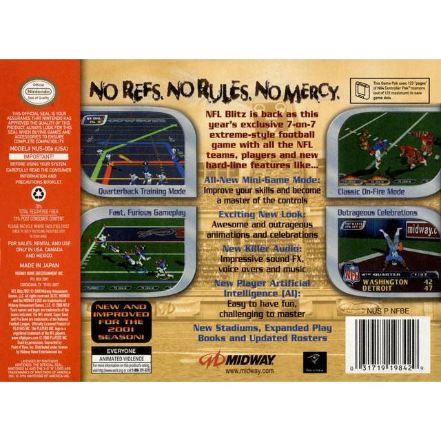 NFL Blitz 2001 - Authentic Nintendo 64 (N64) Game Cartridge - YourGamingShop.com - Buy, Sell, Trade Video Games Online. 120 Day Warranty. Satisfaction Guaranteed.
