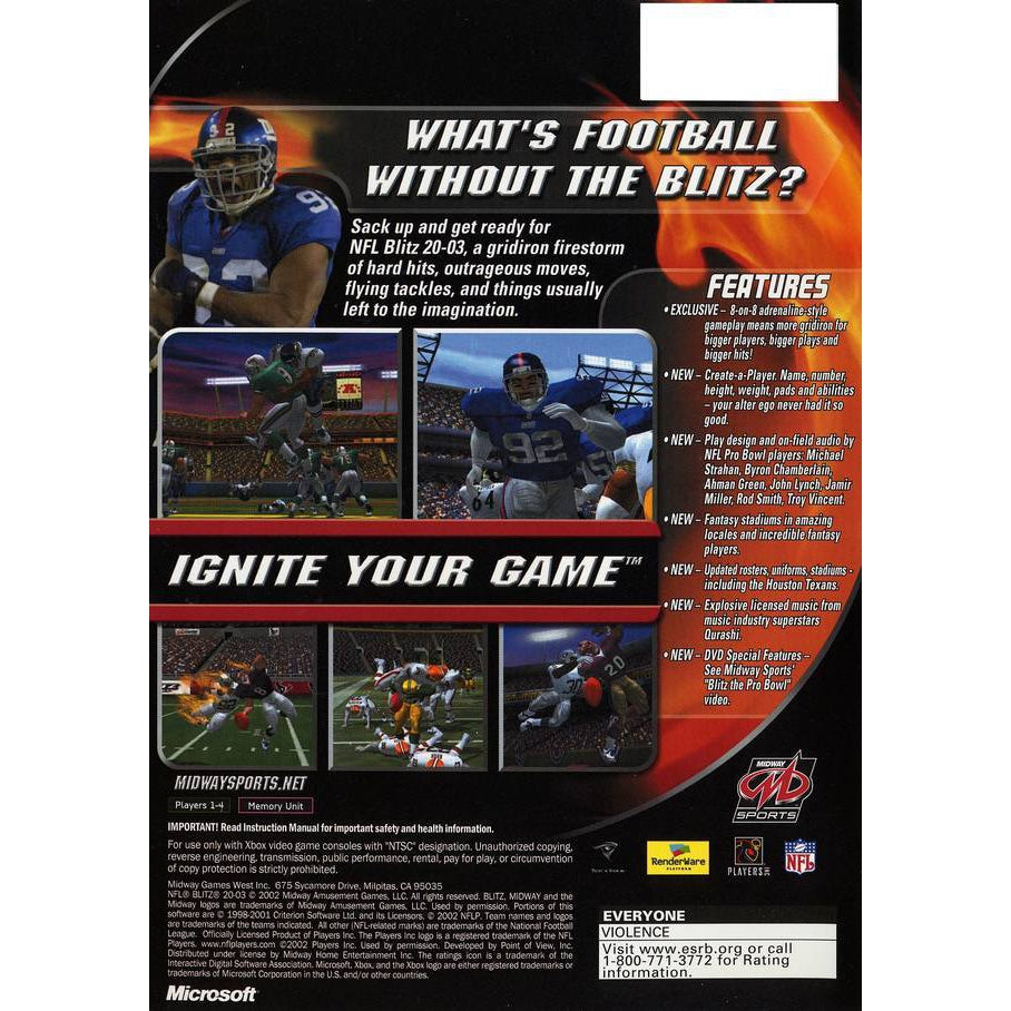 NFL Blitz 20-03 - Xbox Game Complete - YourGamingShop.com - Buy, Sell, Trade Video Games Online. 120 Day Warranty. Satisfaction Guaranteed.