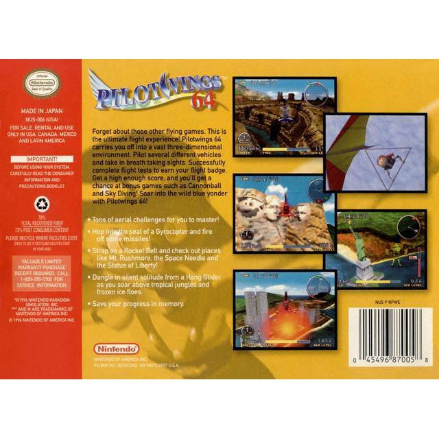 Pilotwings 64 - Authentic Nintendo 64 (N64) Game Cartridge - YourGamingShop.com - Buy, Sell, Trade Video Games Online. 120 Day Warranty. Satisfaction Guaranteed.